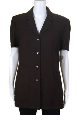 St. John Collection By Marie Gray Womens Blazer Size 10 Brown Short Sleeve New $