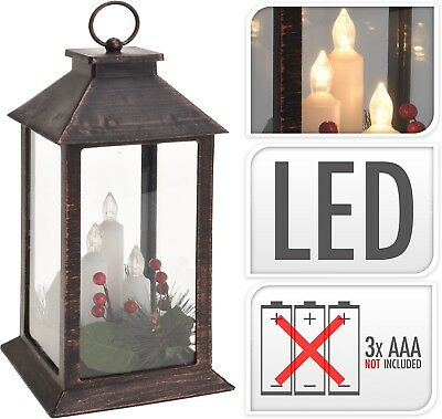 29cm Traditional Christmas Lantern with 3 LED Candles Antique Copper Xmas Lights