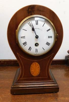 walker & hall french mahogany inlaid balloon clock