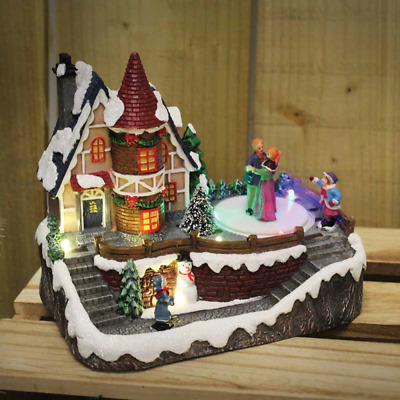 Christmas Village Scene With Moving Singers LED Lights Christmas Decorations