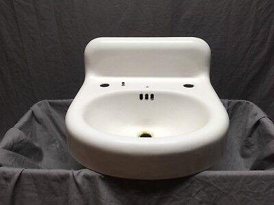 Antique Cast Iron White Porcelain Powder Bath Wall Sink Old Kohler Vtg 569-18E