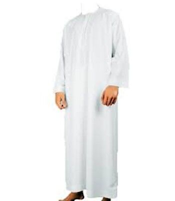 WHITE JUBBAH/THOBE/OMANI MUSLIM ARAB MENS DRESS Size 50,52,54,56,58,60