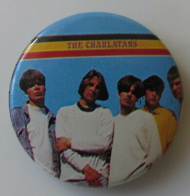 THE CHARLATANS VINTAGE METAL BUTTON BADGE FROM THE 1980's INDIE POP