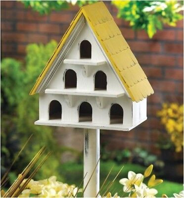 Vintage Style 3 Level Birdhouse With 6 Entrances and Pole