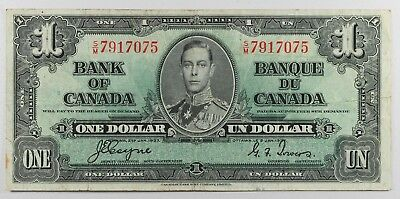 (VL181)  Bank of Canada 1937 $1 One Dollar Coyne-Towers  VF King George VI