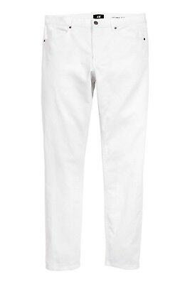H&M Men's 'Twill Pants Skinny Fit' Jeans White Stretch W31 Lightweight **NWT**