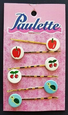 Vintage Hair Pins -  Collection of 6 Individual Hand Painted Bobby Pins -3 Pairs