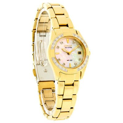 Citizen Eco-Drive Ladies Regent Diamond MOP Dial Gold Tone Watch EW1822-52D