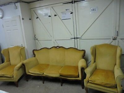 2 x GOLD WING BACK ARMCHAIRS & 3 SEATER ROCOCO STYLE SOFA