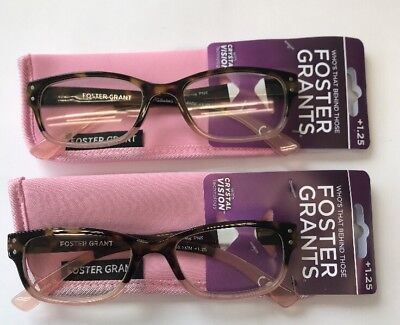 712a1273c7 LOT OF 2 - Reading Glasses Foster Grant Monroe Pink w/ Case +1.75 ...