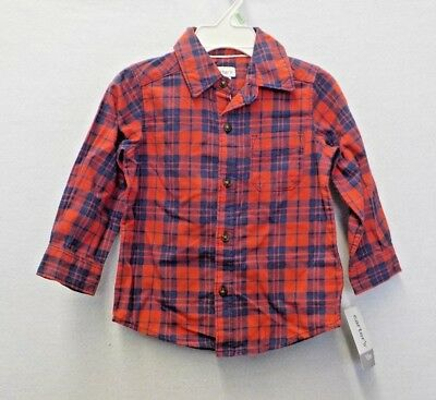 cf8cdd083 Boys Size 18 Months Carter's Red/Blue Plaid Button-Front Shirt New Nwt #