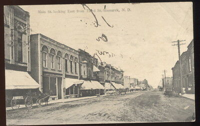 1911 Sepia Photo Pc, Main St. Looking East From Third St. Bismarck, N.d. Stores+