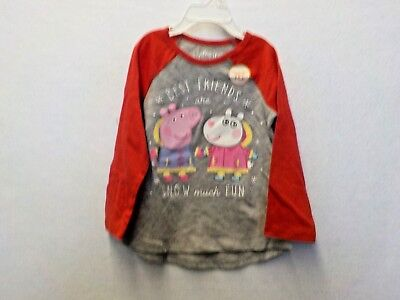 Girls Size 2T Jumping Beans Red/Gray Peppa Pig Best Friends Tee Nwt #12410