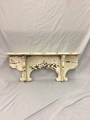 "Antique Wood Corbel Wall Shelf Scalloped White 27"" Old Shabby Vtg Chic 242-18C"