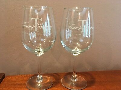 Trump Winery Charlottesville VA Glasses Set Of Two Rare Excellent Condition