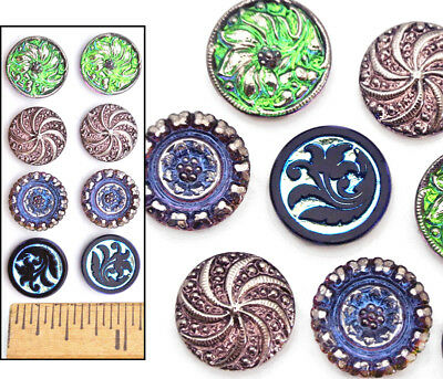 14mm Czech Glass SHANKLESS No Shank Flat Cabochon Buttons 4 COLORS 8pc 4PAIRS