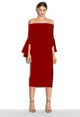 b29315fedc6b NEW MILLY Selena Ruffle Off-The-Shoulder Bell Sleeve Dress in Red - Size