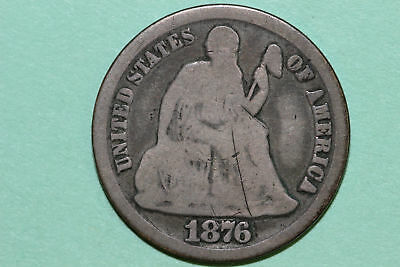 Grades Good 1876 CC Seated Liberty 90% Silver Dime (SLD678)