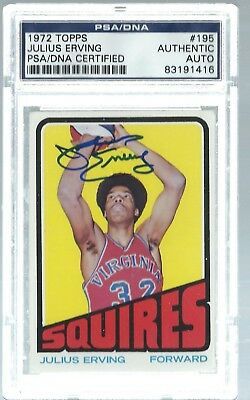 8ff1ef687 Dr. J Julius Erving PSA DNA Authentic Autograph signed 1972-73 Topps Rookie  Card