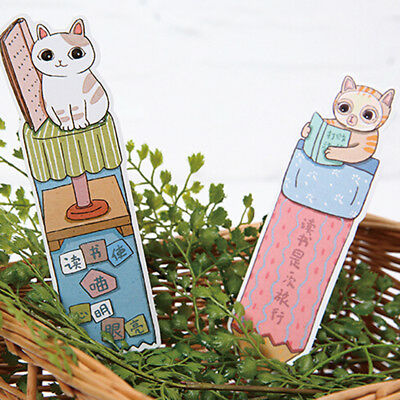 30pcs/Pack Reading Cats Bookmark Paper Kawaii Stationery Cartoon Bookmark LD