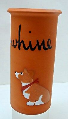 "Zeppa Studios Terracotta ""Whine""  Wine Cooler Chiller Holder - Pem. Welch Corgi"