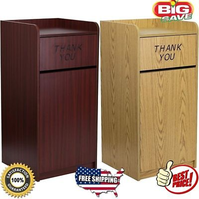 Commercial Trash Can Restaurant Tray Receptacle Large Garbage Waste Bin Wooden