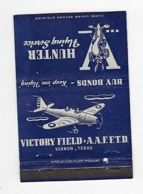 WWII Matchbook Cover ARMY AIR FORCE VICTORY FIELD Vernon TX M004