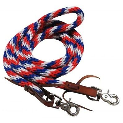 Showman 8' RED, WHITE & BLUE Braided Nylon Barrel Style Reins!! NEW HORSE TACK!!