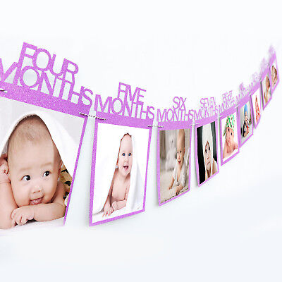 1-12 Months Baby's Photo Frame Shower Photo Holder Banner Kids Birthday Decor