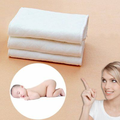 10Pic Reusable Soft Washable Pure Cotton Baby Cloth Diaper Nappy Liners 3 Layer