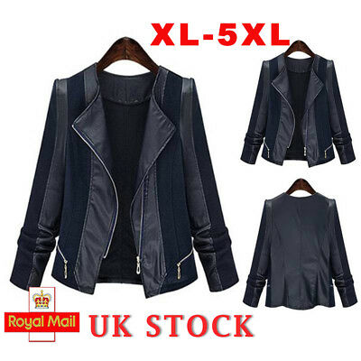 Plus Size Womens Jacket Ladies Suede Leather Flight Coat Zip Up Biker Tops 20-28