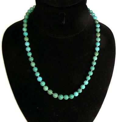 Beautiful! Antique Chinese Turquoise Bead Necklace with Sterling Silver Closure