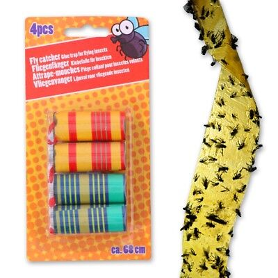 SET OF 4 FLY PAPER STRIPS Sticky Bug Wasp Catcher Indoor Insect Trap Poison Free