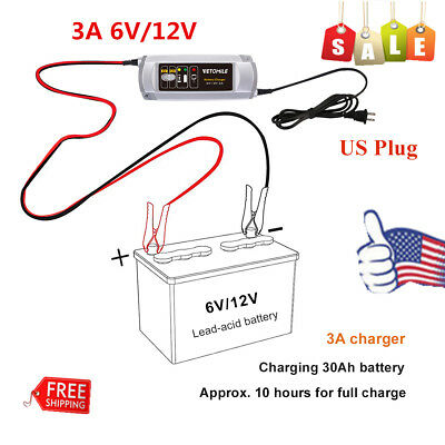 3A 6V/12V Car Battery Charger/Maintainer Trickle Car RV Motorcycle Mower US Plug