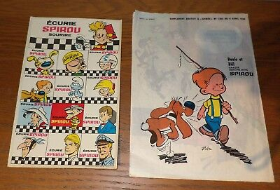 2 suppléments du journal de Spirou 1963 auto-collant et impression transparence