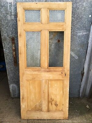 "31 1/8""x72 1/2"" Victorian Stripped Pine Six Panel Short Glazed Internal Door"