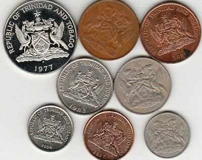 8 different world coins from TRINIDAD & TOBAGO