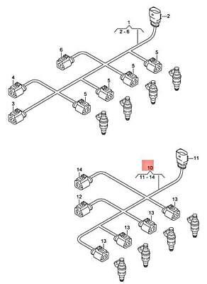Genuine AUDI Rs4 Avant Quattro Wiring Harness For Injectors 079971627R