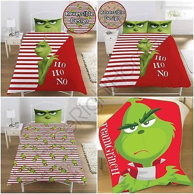 The Grinch Movie Christmas - Duvet Cover Set Single & Double / Fleece Blanket