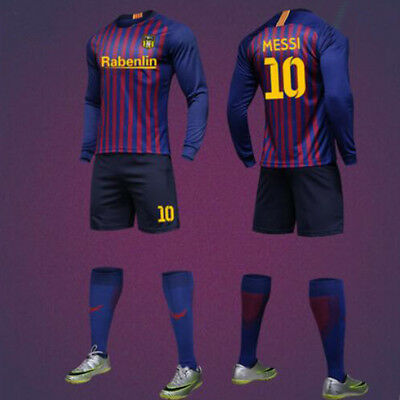 18-19 Messi Long Sleeve Blue Football Kits Soccer Team Suit For Adults And Kids