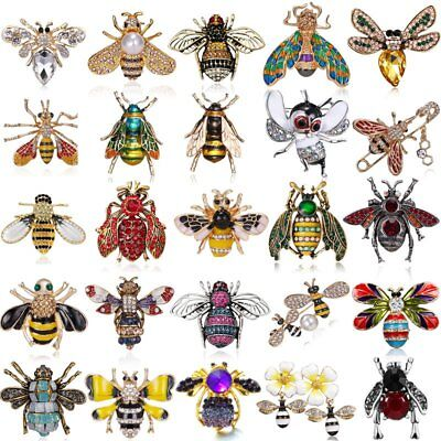 Retro Bee Animals Crystal Enamel Brooch Pin Badge Chic Insects Jewelry Gifts