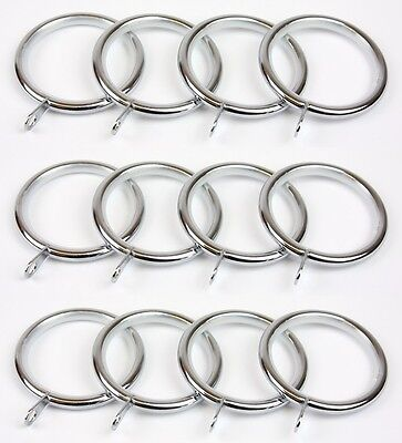 Pack of 12 Chrome Lined Metal Curtain Pole Rings for 28mm dia Pole