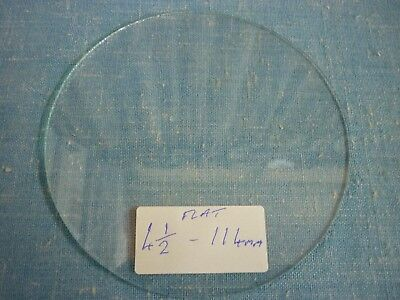 "OLD ROUND FLAT CLOCK GLASS  4 1/2""  114mm ROUGH EDGE USED."