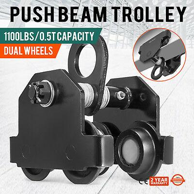 0.5 Ton Push Beam Track Roller Trolley Washers Included Garage Hoist Winch