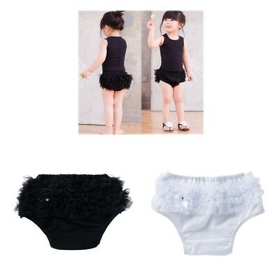 2Pcs Baby Girls Lace Ruffle Shorts Pants Nappy Diaper Cover Bloomers Panties