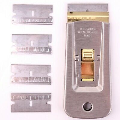 SINGLE EDGE RAZOR BLADE HOLDER 5 Blade Window Paint Wallpaper Hob Cooker Scraper