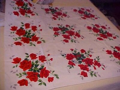 Vintage White Wilendur Tablecloth w/ Bouquets of Red Roses