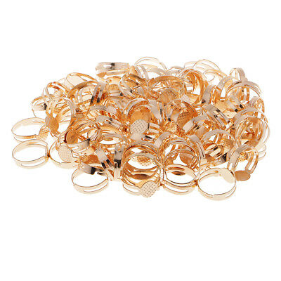 100pcs Blank Adjustable Ring Base Charms Bezel Pad Settings Findings Gold