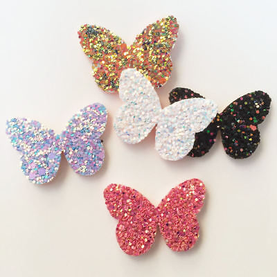 New 16pcs Felt Fabric Glitter Paillette Butterfly Patches Appliques wedding DIY