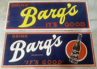 2 RARE OLD 1950s to 1970s ORIGINAL BARG'S ROOT BEER CARDBOARD SIGNS FREE SHIPING